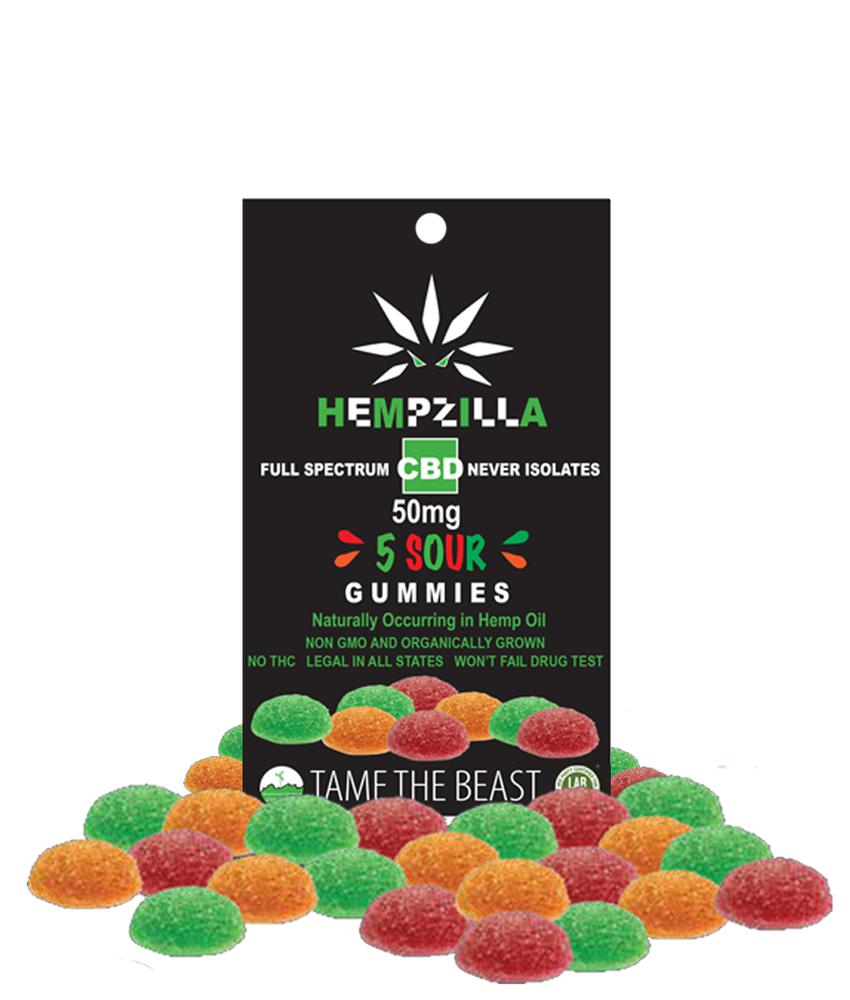 Hempzilla CBD Sour Gummies - 5pack-Lift Gift