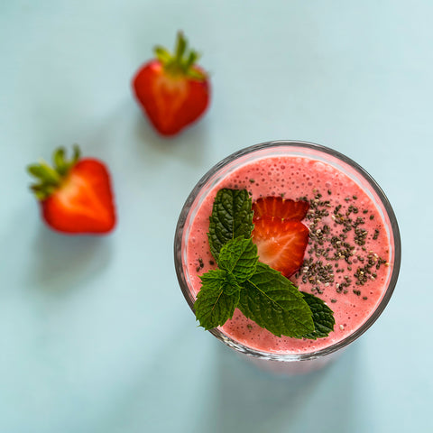 Strawberries in a smoothie