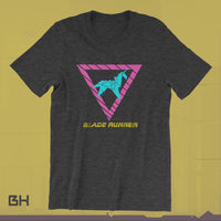 80s Style Origami Unicorn - Blade Runner - Glitch - T-SHIRT