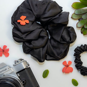 Black Jumbo Silk Scrunchie