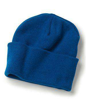 "Brand: Bayside | Style: 3825 | Product: USA-Made 12"" Knit Beanie"