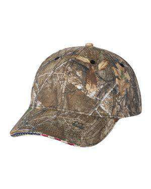 Brand: Outdoor Cap | Style: USA350 | Product: American Flag Sandwich Camo Cap