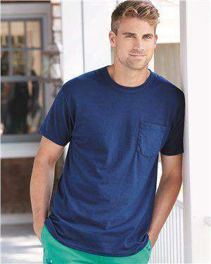 Brand: Hanes | Style: 5590 | Product: Tagless T-Shirt with a Pocket