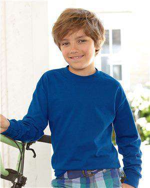 Brand: Hanes | Style: 5546 | Product: Tagless Youth Long Sleeve T-Shirt