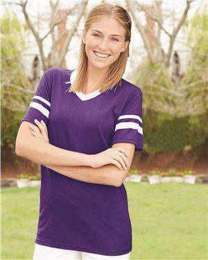 Brand: Augusta Sportswear | Style: 360 | Product: V-Neck Jersey with Striped Sleeves