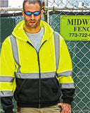 Brand: ML Kishigo | Style: JS102-103 | Product: Hi-Vis Hooded Full-Zip Sweatshirt