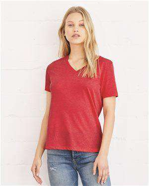 Brand: Bella + Canvas | Style: 6405 | Product: Women's Relaxed Short Sleeve Jersey V-Neck Tee