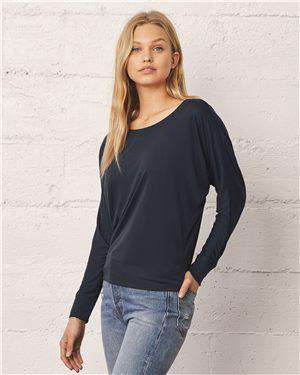 Brand: Bella + Canvas | Style: 8850 | Product: Women's Flowy Long Sleeve Off Shoulder Tee