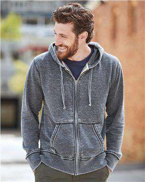 Brand: J. America | Style: 8916 | Product: Vintage Zen Fleece Full-Zip Hooded Sweatshirt
