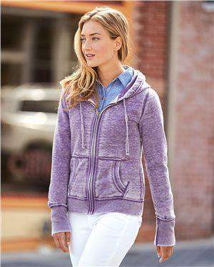 Brand: J. America | Style: 8913 | Product: Women's Zen Fleece Full-Zip Hooded Sweatshirt