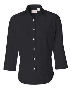 Van Heusen Women's 3/4-Sleeve Baby Twill Dress Shirt