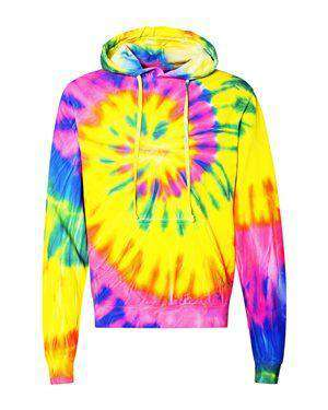 Brand: Dyenomite | Style: 854MS | Product: Multi-Color Spiral Pullover Hooded Sweatshirt