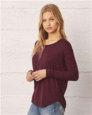 Brand: Bella + Canvas | Style: 8852 | Product: Women's Flowy 2x1 Ribbed Long Sleeve Tee