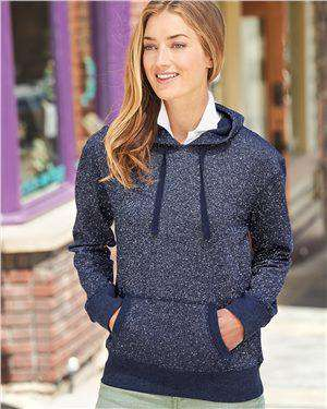 Brand: J. America | Style: 8860 | Product: Women's Glitter French Terry Hooded Pullover