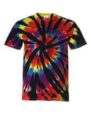 Dyenomite Men's Rainbow Cut-Spiral Tie-Dye T-Shirt