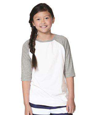 Brand: LAT | Style: 6130 | Product: Youth Baseball Fine Jersey Three-Quarter Sleeve Tee