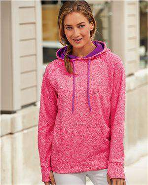 Brand: J. America | Style: 8616 | Product: Women's Cosmic Fleece Contrast Hooded Pullover Sweatshirt