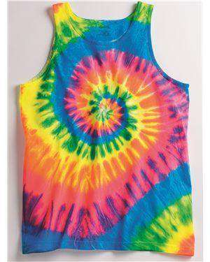 Brand: Dyenomite | Style: 420MS | Product: Multi-Color Spiral Unisex Tank Top