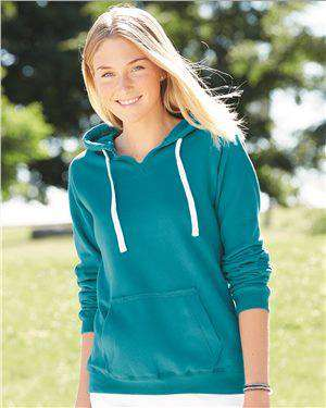 Brand: J. America | Style: 8836 | Product: Women's Sueded V-Neck Hooded Sweatshirt