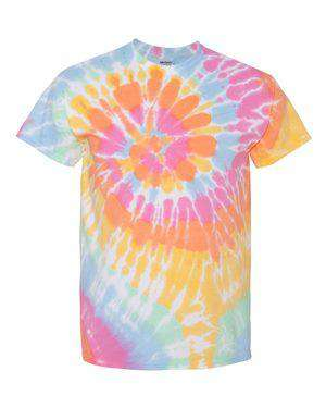 Dyenomite Men's Multi-Color Spiral Tie-Dye T-Shirt
