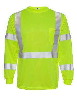 ML Kishigo Men's Class 3 Long Sleeve Safety T-Shirt - 9146