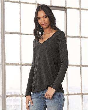 Brand: Bella + Canvas | Style: 8855 | Product: Women's Flowy Long Sleeve V-Neck Tee