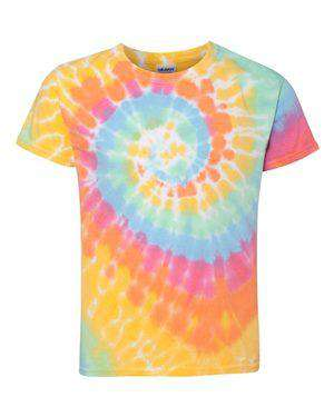 Dyenomite Youth Multi-Color Spiral Tie-Dye T-Shirt - 20BMS
