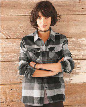 Brand: Burnside | Style: 5210 | Product: Women's Yarn-Dyed Long Sleeve Flannel Shirt