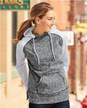Brand: J. America | Style: 8618 | Product: Women's Colorblock Cosmic Fleece Hooded Pullover Sweatshirt