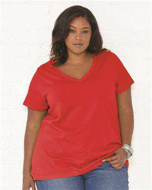 Brand: LAT | Style: 3807 | Product: Curvy Collection Women's Premium Jersey V-Neck Tee