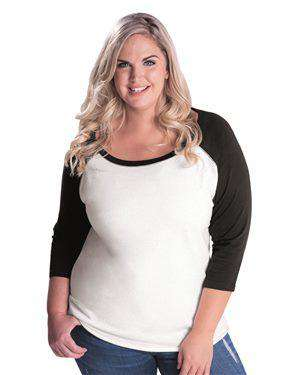 Brand: LAT | Style: 3830 | Product: Curvy Collection Women's Baseball Three-Quarter Sleeve Tee