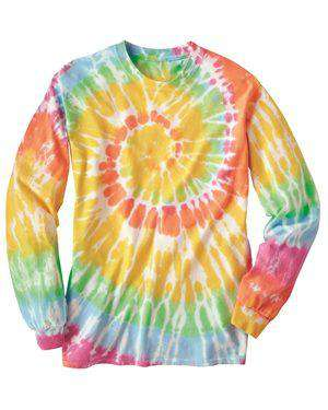 Brand: Dyenomite | Style: 240MS | Product: Spiral Tie Dye Long Sleeve