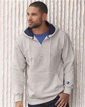 Brand: Champion | Style: S185 | Product: Cotton Max Hooded Quarter-Zip Sweatshirt