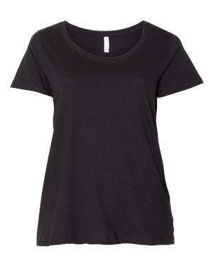 LAT Women's Curvy Collection Scoop Neck T-Shirt