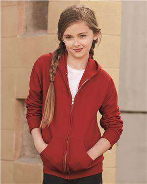 Brand: JERZEES | Style: 993BR | Product: NuBlend Youth Full-Zip Hooded Sweatshirt