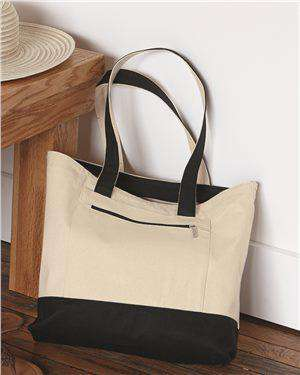 Brand: Q-Tees | Style: Q1300 | Product: 18.6L Canvas Zipper Tote