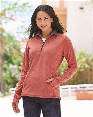 Brand: J. America | Style: 8433 | Product: Omega Stretch Terry Women's Quarter-Zip Pullover