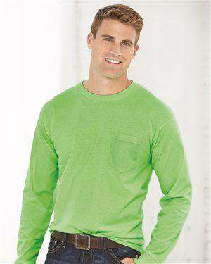 Brand: Bayside | Style: 8100 | Product: USA-Made Long Sleeve T-Shirt with a Pocket