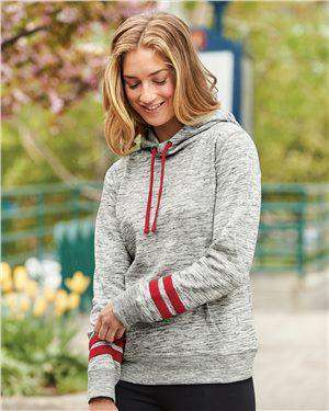 Brand: J. America | Style: 8674 | Product: Women's Melange Fleece Striped Sleeve Hooded Pullover