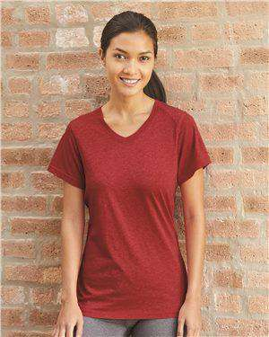 Brand: Badger | Style: 4962 | Product: Triblend Performance Women's V-Neck T-Shirt