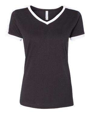 LAT Women's Retro Ringer V-Neck T-Shirt - 3532