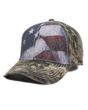 Brand: Outdoor Cap | Style: SUS100 | Product: Camo Cap with Flag Sublimated Front Panels