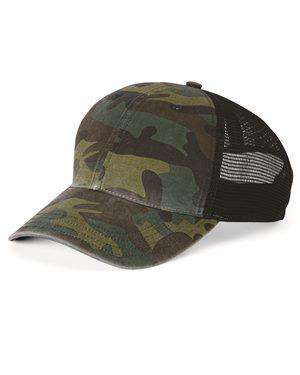 Brand: Richardson | Style: 111P | Product: Camo Washed Trucker Cap
