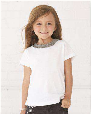 Brand: Rabbit Skins | Style: 3329 | Product: Toddler Girls' Ruffle Neck Fine Jersey Tee