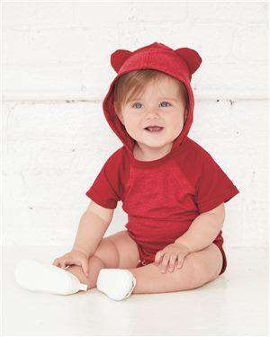 Brand: Rabbit Skins | Style: 4417 | Product: Fine Jersey Infant Short Sleeve Raglan Bodysuit with Hood & Ears