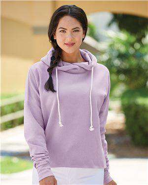 Brand: J. America | Style: 8684 | Product: Women's Lounge Fleece Hi-Low Hooded Pullover