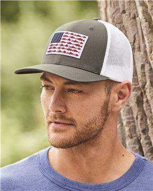 Brand: Columbia | Style: 183681 | Product: PFG Fish Flag Mesh Flexfit Ball Cap