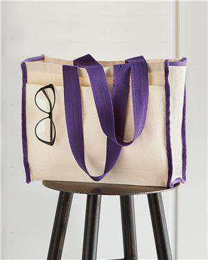Brand: Q-Tees | Style: Q1100 | Product: Gussetted Tote with Colored Handles