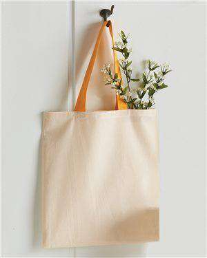 Brand: Q-Tees | Style: QTB6000 | Product: Cotton Economical Tote with Colored Handles