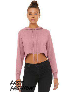 Brand: Bella + Canvas | Style: 8512 | Product: Fast Fashion Women's Triblend Cropped Long Sleeve Hooded Tee